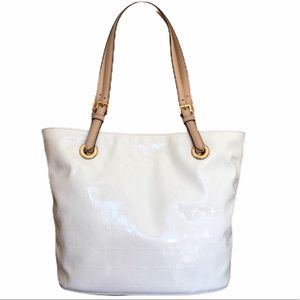 Michael Kors white patent leather logo tote bag